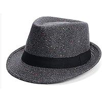 Sunbohljfjh Sombrero de Copa de los Hombres de Primavera Sombrero de Lana cálido Estilo de Jazz Sombrero de Baile de Moda Tipo Fieltro Sombrero de Invierno Sombrero 58 cm