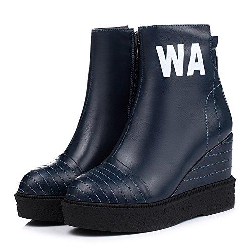AllhqFashion Damen Rund Schließen Zehe Hoher Absatz Reißverschluss Stiefel Blau