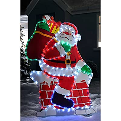 WeRChristmas Santa on Chimney LED Rope Lights Silhouette Outdoor Christmas Decoration, 95 cm - Large, Multi-Colour from WeRChristmas
