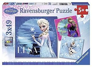 Disney Frozen, Elsa, Anna y Olaf, Puzzle de 3 x 49 Piezas (Ravensburger 9269)