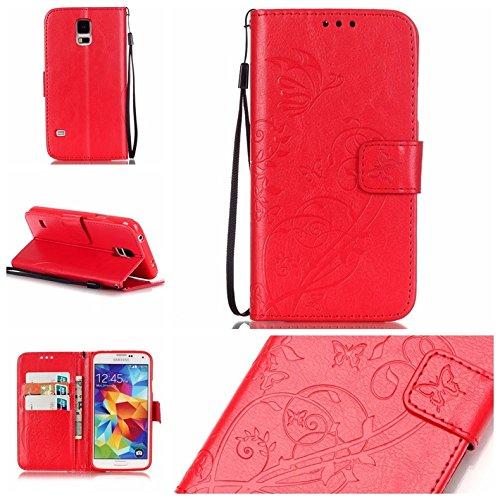 Prägen Blumen-Case, Magnetverschluss Synthetische PU-Leder-Kasten-Abdeckung mit hängenden Seil und Wallet-Funktion für Samsung S5 MINI ( Color : Pink , Size : Samsung S5MINI ) Red