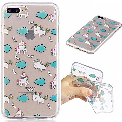iphone 7 Plus Hülle,iphone 7 Plus Case, iphone 7 Plus Schutzhülle Case Silikon, Cozy Hut Liquid Crystal Schock Absorption Ultra Dünn Crystal Clear Transparent Handyhülle Cover Soft Premium-TPU Durchsi Wolken Einhorn