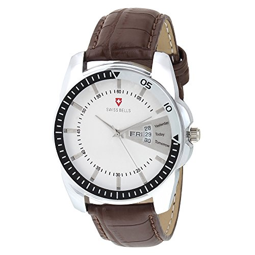 Svviss Bells Chronograph White Dial Brown Genuine Leather Strap Day And Date Men's Wrist Watch - Ta-970