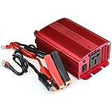 BESTEK 600W Inversor de Corriente para Coche 12V a 220V, CC Adaptador, Cargador para Ordenador Portátil con Un Cable de Arranque con Punzas y Un Enchufe Universal para iPhone, iPad, Tablet, Samsung, GPS y Demás, Color Rojo