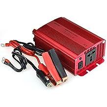 BESTEK Inversor de Corriente para Coche 600W 12V a 220V, CC Adaptador, Cargador para Ordenador Portátil con Un Cable de Arranque con Pinzas y Un Enchufe Universal para iPhone, iPad, Tablet, Samsung, GPS y los Demás, Color Rojo