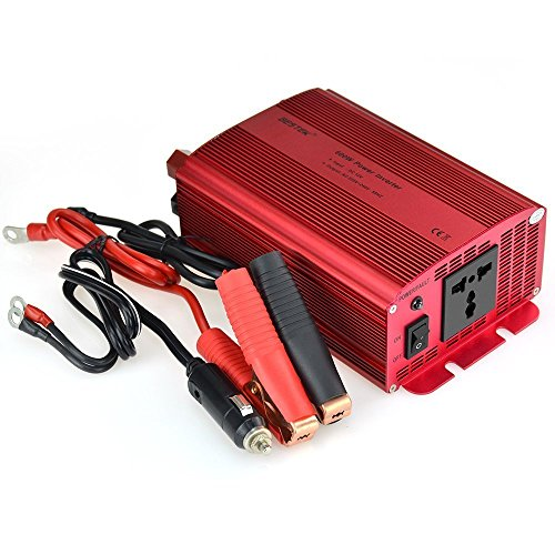 BESTEK INVERSOR DE CORRIENTE PARA COCHE 600W 12V A 220V  CC ADAPTADOR  CARGADOR PARA ORDENADOR PORTATIL CON UN CABLE DE ARRANQUE CON PINZAS Y UN ENCHUFE UNIVERSAL PARA IPHONE  IPAD  TABLET  SAMSUNG  GPS Y LOS DEMAS  COLOR ROJO