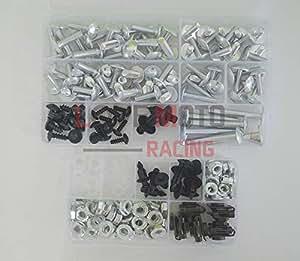 LoveMoto Full Motorcycle Fairings Bolt Screw Kits for CBR 600 F4i 04 05 06 07 CBR600F4i 2004 2005 2006 2007 Aluminium Screws Fastener Clips Black Silver