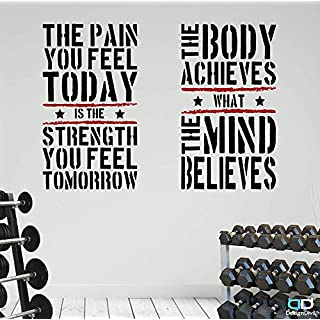 2 Large Home Gym Fitness Motivational Wall Decal Quotes Healthy Excellent Value!