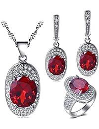 8c351628f245 Rojo Zircon para mujer joyas en plata anillos de colgante de collar y  pendientes conjuntos js712