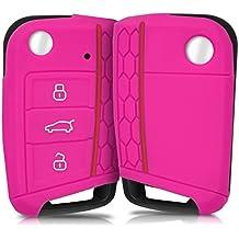 kwmobile Funda de silicona para llave de 3 botones para coche VW Golf 7 MK7 - cover de llave - key case en rosa fucsia