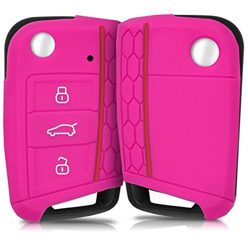 kwmobile Hülle für VW Golf 7 MK7 3-Tasten Autoschlüssel - Silikon Schlüssel Schutzhülle in Pink - Etui Schlüsselhülle Cover Auto Zündschlüssel