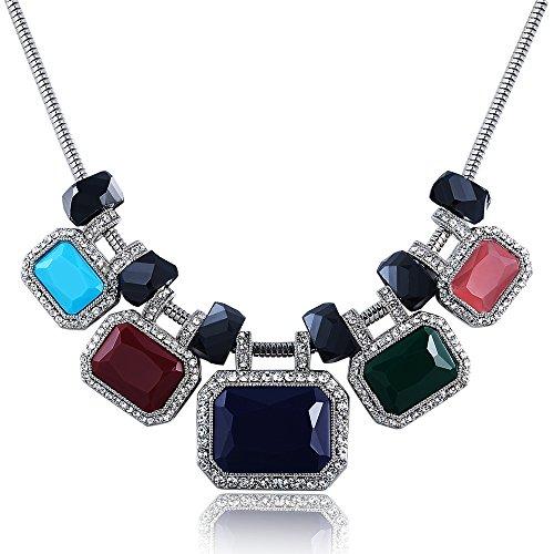 City Ouna® Design quadrato multi-colori Boemia Bib girocollo collare collana donne ragazze clavicola catena gioielli con elementi Swarovski