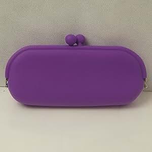 Purple Silicone Make up Pencil Glasses Mobile Case Purse Wallet