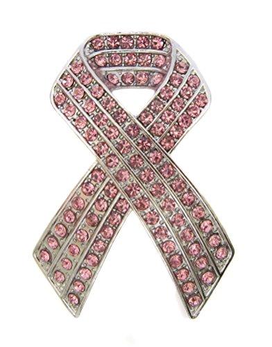 Brooch Boutique übergroße, rosa Schleifen-Brosche/Brooch Boutique große Brosche mit Kristallen für den Kampf gegen Brustkrebs.