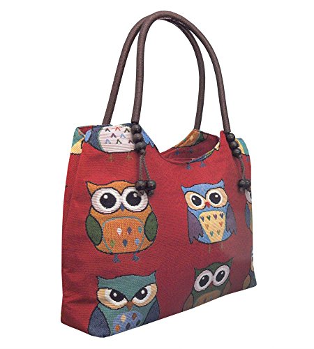 Borsa Borsa Tote Bag *** Owl *** Shopper Borsa A Tracolla Borsa A Mano Con Motivo Gufo - Vari Motivi Disponibili - Look Vintage / Assolutamente Cool Ed Elegante 42253