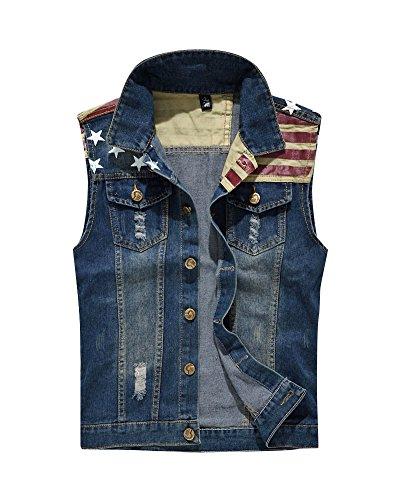 Herren Ärmellose Jeans Weste Denim Jacke Weste Slim Fit Beiläufige Weste Jeansweste Blau 2XL (Ärmelloses Denim Jeans)