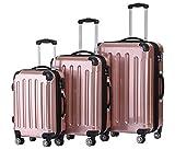 f02e041be3069 BEIBYE Zwillingsrollen 2048 Hartschale Trolley Koffer Reisekoffer Taschen  Gepäck in M-L-XL-Set (Rosa Gold