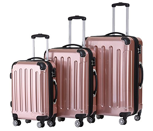 BEIBYE Zwillingsrollen 2048 Hartschale Trolley Koffer Reisekoffer in M-L-XL-Set in 17 Farben (Rosa Gold, SET)