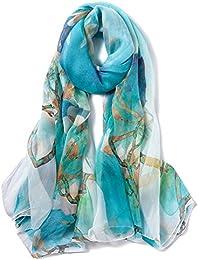 f217d8ba4c79 STORY OF SHANGHAI Femme Foulard 100% Soie Imprime Floral Coloré Grande  Echarpe Châle Ultra-