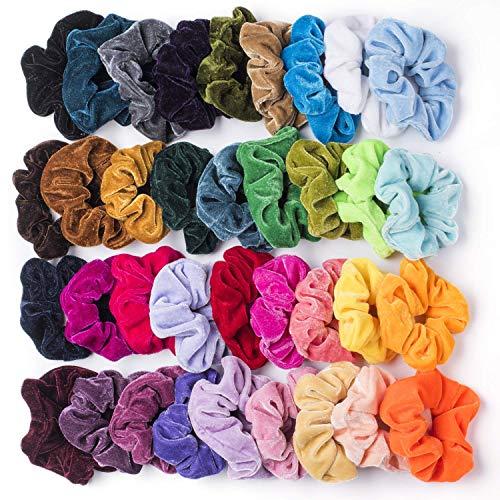 36 Stück Haar Scrunchies Haargummis für Damen samt Mädchen Haarschmuck Elastische Haarbänder Pferdeschwanz Elastics Bobbles Haar Scrunchies