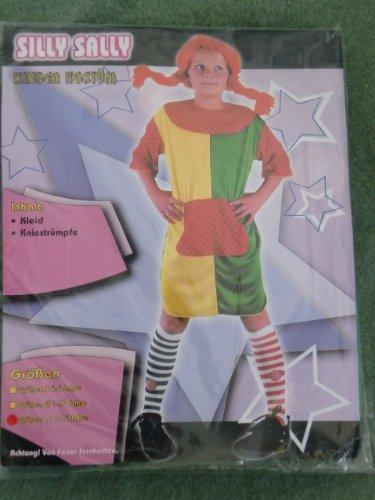 Pippie Langstrumpf Kostüm Silly Sally Kinder Kostüm Faschingskostüm Karnevallskostüm Gr. 11 -14 Jahre Gr. L oder Gr. S 4-6 Jahre Inahlt: Kleid, Kniestrümpfe NEU! Fasching, Karneval (Silly Sally Kostüm)