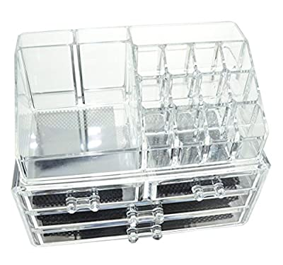 GLAMSMACKED ® Clear Acrylic Cosmetic Organiser Display Table Storage Stand for Make Up, 4 Drawer Nail Polish, Varnish, Arts and Crafts, Brush Sets, and Jewellery