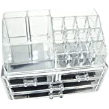 DOUBLE LAYER BEAUTY CLEAR ACRYLIC COSMETIC DRAWER / MAKE UP NAIL POLISH VARNISH DISPLAY STAND / ORGANISER / RACK / HOLDER CAN ALSO BE USED FOR MAKEUP BRUSH SETS, JEWELLERY AND ARTS AND CRAFT - 20 SECTIONS by Express trading