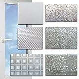 (119) Schermatura protettiva in finto vetro smerigliato con pellicola autoadesiva - 150 x 90 (diversi motivi decorativi)., Plastica, fiori, 150 x 90 cm