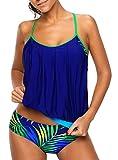 Angerella Tankini Tops Per Donne PLUS Dimensione Bathing Suits Per Women Floral Swimsuit,Blu,3XL(EU 44-46)