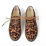 Anney Damen Freizeitschuhe Runde Spitze Leoparden Muster Knöchel Flache Blockabsatz Wildleder Casual Schnürschuhe Einzelne Kunstleder Schuhe Wohnungen Lace Up Ankle Boot (Braun,42)