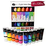Artina Set da 10 Colori acrilici Crylic 10x120 ml - pregiati Colori per Pittura acrilica - per artisti e Principianti