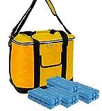 ToCi 30 Liter Kühltasche | Große XXL Kühlbox mit Schultergurt und Tragegriffen | Farbe: Gelb-Schwarz | mit 8 x Kühlakkus (200ml)