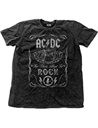 AC/DC Shirt About to Rock Vintage Official Mens distressed Black Snow Wash