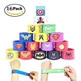 16 Pack Superheroes Slap Bands for Kids Party Supplies Snap Bracelets Party Bag Fillers for Boys Adults Birthday Kids Superhero Party Favors Toys (Style 3)