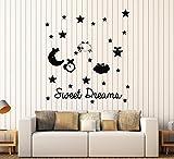 Large Vinyl Wall Decal Sweet Dreams Bedroom Nursery Stars Sheep Stickers (ig4098) Dark Blue