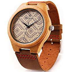 REDEAR Men Watch Unisex Quartz Analog Watch Leather Strap Lightweight Bamboo Wristwatch Daily life Water Resistant Prevent Metal Allergy