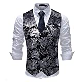 Mens Paisley Jacquard Suit Waistcoat Single Breasted Vest Dress Vest Slim Fit Button Down Prom Formal Suit Vest Waistcoats