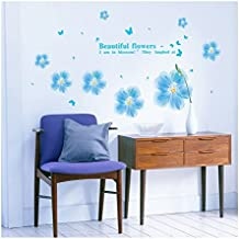 UberLyfe Innocent Blue Flowers Wall Sticker Size 3 (Wall Covering Area: 65cm x 150cm) - WS-001112