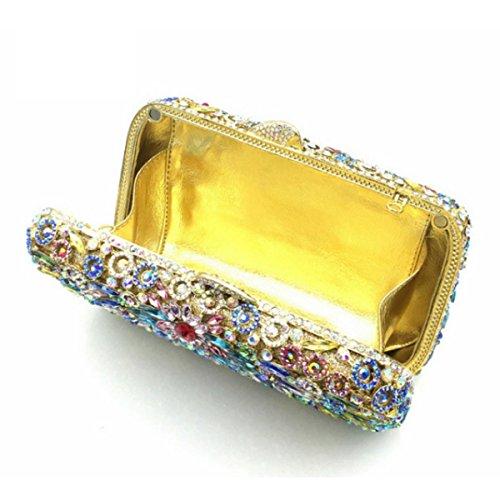 Frauen Strass Kristall Clutch Abendtaschen Blumen-Geldbeutel OneColor
