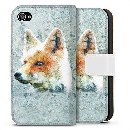 Apple iPhone X Silikon Hülle Case Schutzhülle Fuchs Fox Muster Sideflip Tasche weiß