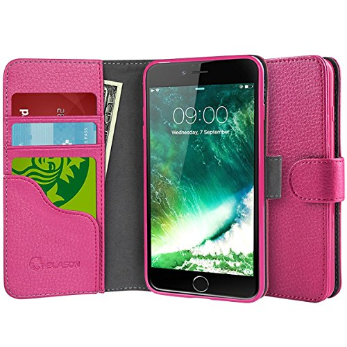 iPhone 7 Plus Lederhülle, iPhone 8 Plus Lederhülle, i-Blason Dünne Leder Case Tasche mit Magnetverschluss, Ständer, Kartenfach für Apple iPhone 7 Plus / iPhone 8 Plus?Schwarz rose