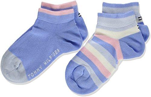 Tommy Hilfiger Mädchen Socken TH Kids Basic Stripe Quarter 2P, 2er Pack, Grau (Orchid Pink 146), 31-34