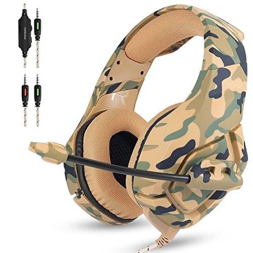 Gaming Headset PS4, Mbylxk Gaming Kopfhörer 3,5 mm mit Mikrofon für PS4 PC Film Gaming Spielen Chat Musik Camouflage