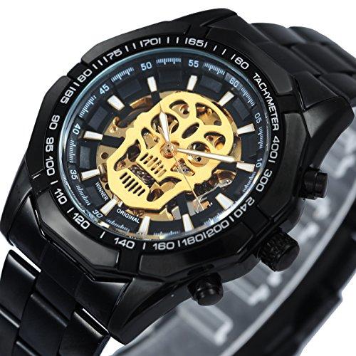 caluxe Fashion Casual Schwarz Automatische Mechanische Herren Uhr Edelstahl Armband Golden Skelett Zifferblatt Militär Armbanduhren