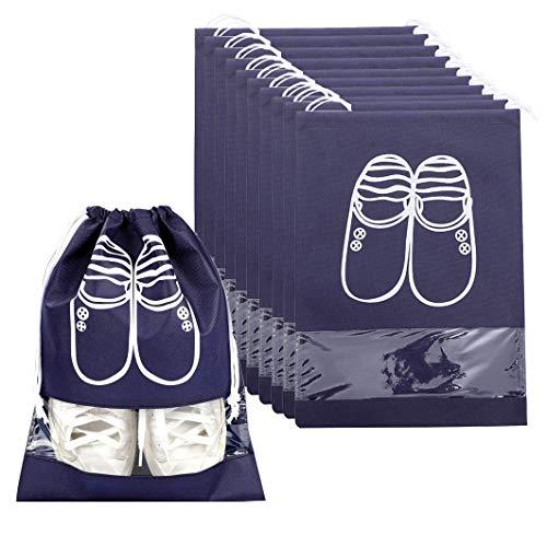 Nuosen - Confezione da 10 borse da viaggio per scarpe, portatili, antipolvere, traspiranti, con finestra, 32 x 44 cm, colore: blu navy
