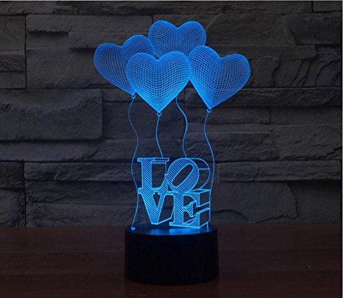 WCUI 3D Petite lampe de table, Creative Homme et femme Amis Cadeaux de vacances LOVE Seven Color Acrylic Energy Saving Saint Valentin Night Light Touch Switch 231 * 142 * 87mm Sélectionner ( Size : 231*142*87mm )