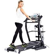 Newgen Medicals NC5585-944, Newgen Medicals Laufband mit Massageband: 2in1 Profi-Laufband LF-412.multi mit Fitness-Station und Bandmassage (Faltbares Laufband)