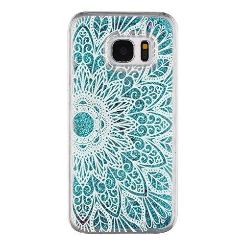 ikasefu Creative Neuheit Fließende Glitzer Blau Sterne Hard Bling Sparkle Liquid Wasser Kunststoff Schutzhülle für Samsung Galaxy s7-blue Sterne, Feder Samsung Galaxy S7 Blue Stars,Sunflower