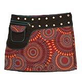 Leucht-Welten Damen Wickelrock Baumwolle Rock mit Tasche sk1