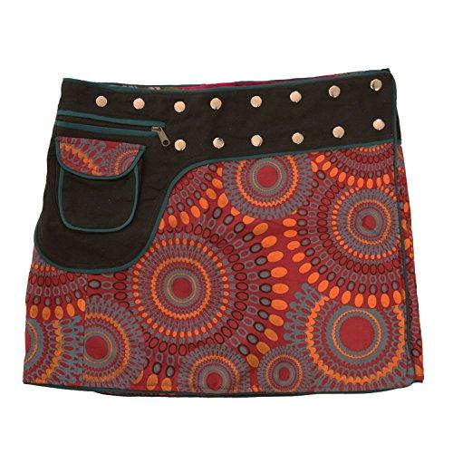 süßer Wickelrock für Damen, 100% Baumwolle, verstellbare Größe, Goa Rock Modell Nr. 1, verschiedene Farben (Damen Wickelrock)